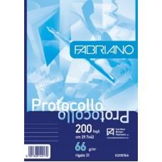 FABRIANO FOGLI PROTOCOLLO PACCO 200 FOGLI 31 RIGHE SENZA MARGINE