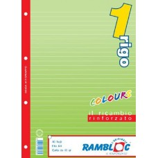 RAMBLOC RICAMBIO QUADERNO AD ANELLI RINFORZATO 40FF 21X30 (A4) -1R- VERDE