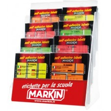 MARKIN ESPOSITORE ETICHETTE 80 BUSTE 10FF. FLUO ASSORTITE