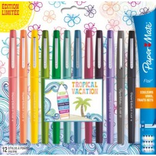 PAPERMATE NYLON FLAIR TROPICAL VACATION BLISTER 12 COLORI