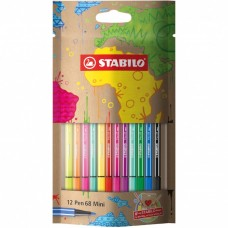 STABILO DESIGN PEN 68 MINI ASTUCCIO 12 COLORI ASSORTITI